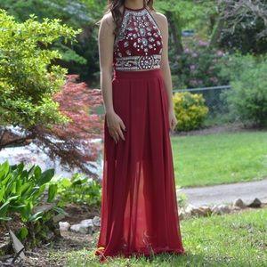 Burgundy two piece prom dress